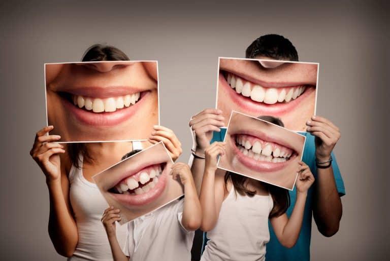 fun family photo at dentist